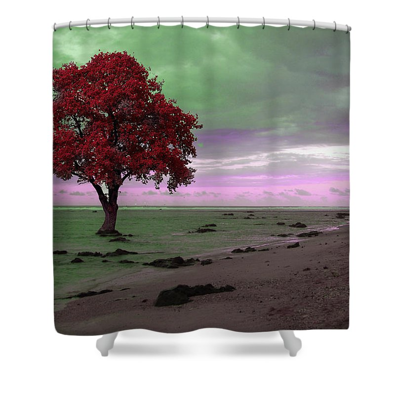 Red Shower Curtain featuring the photograph Red Tree by Munir Alawi