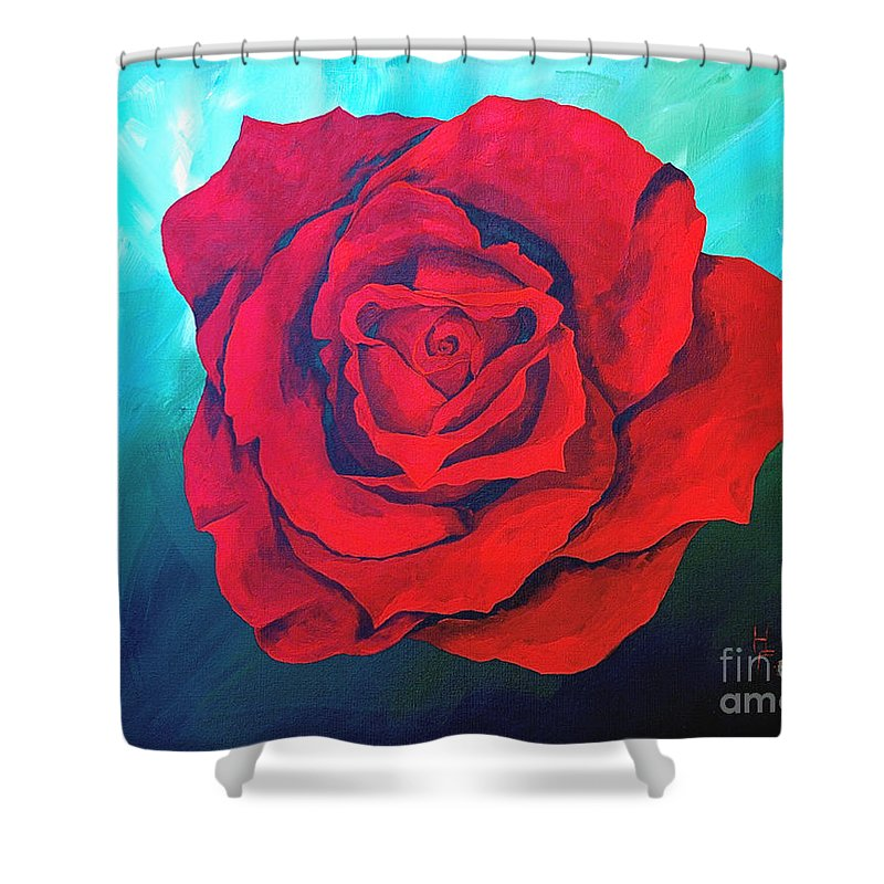 Red Rose Deep Red Rose 3d Ice Rose Shower Curtain featuring the painting Red Velvet by Herschel Fall