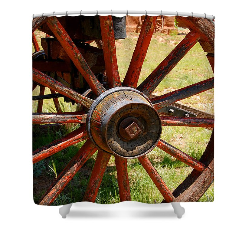 Wagon Shower Curtain featuring the photograph Red Wheels by David Lee Thompson