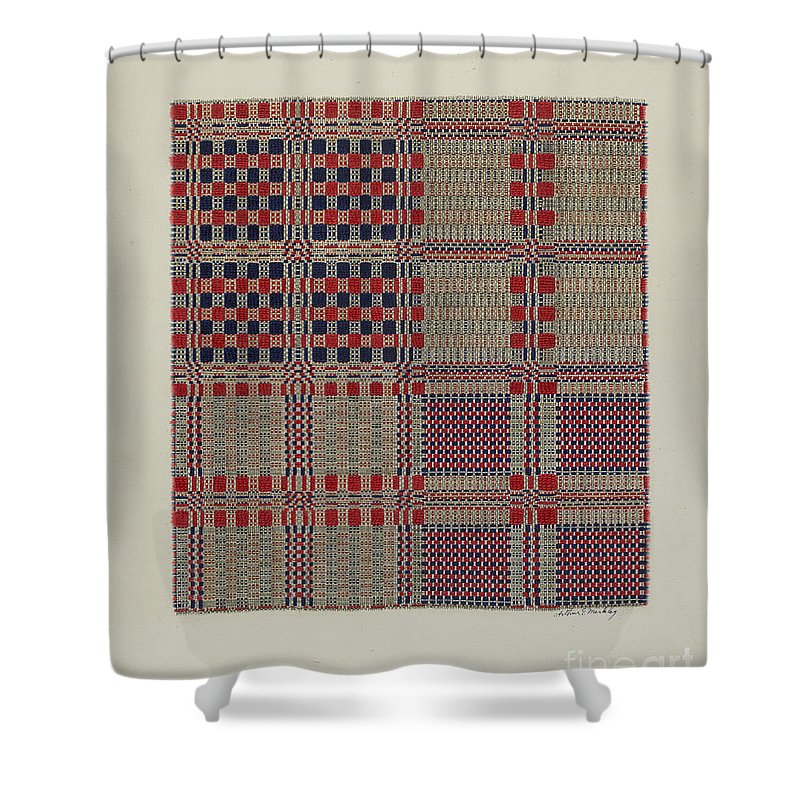 Shower Curtain featuring the drawing Red, White & Blue Coverlet by Arthur G. Merkley