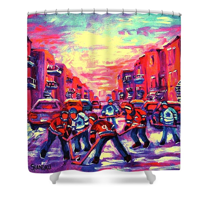 Hockey Game Shower Curtain featuring the painting Red White And Blue by Carole Spandau