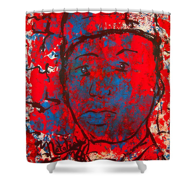 Man Shower Curtain featuring the painting Red White And Blue by Natalie Holland