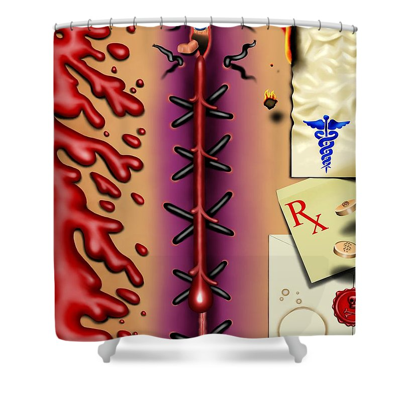 Surrealism Shower Curtain featuring the digital art Red White And Bruised I by Robert Morin