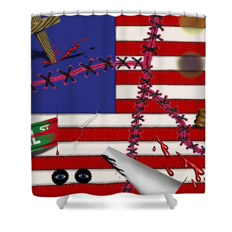 Surrealism Shower Curtain featuring the digital art Red White and Bruised III by Robert Morin