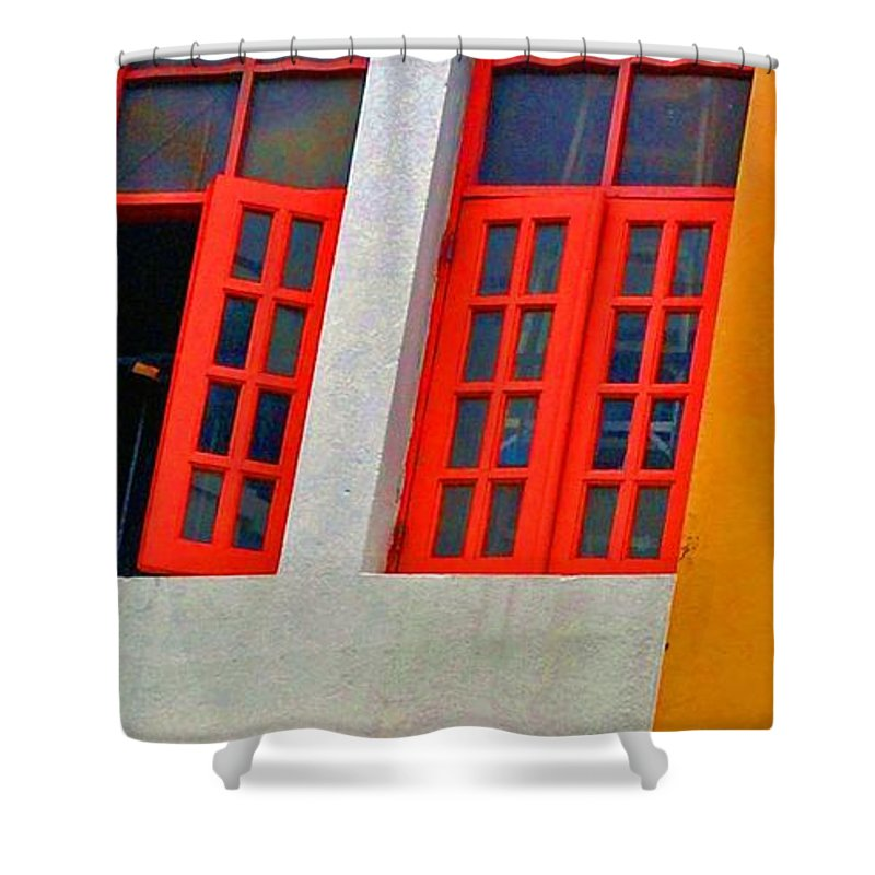 Windows Shower Curtain featuring the photograph Red Windows by Debbi Granruth