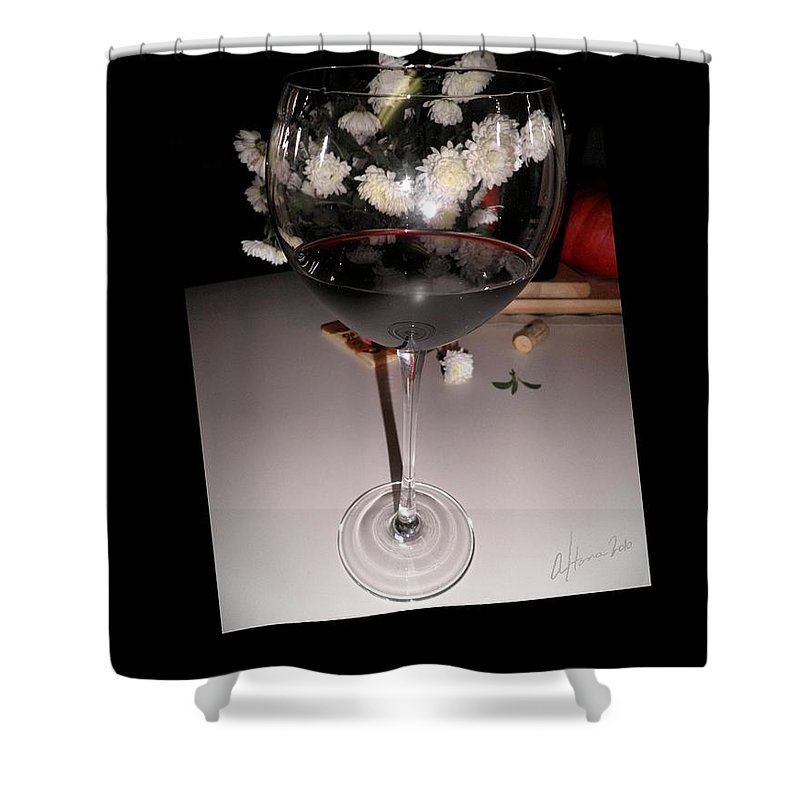 Red Wine Shower Curtain featuring the photograph Red Wine With White Mums by T Cook
