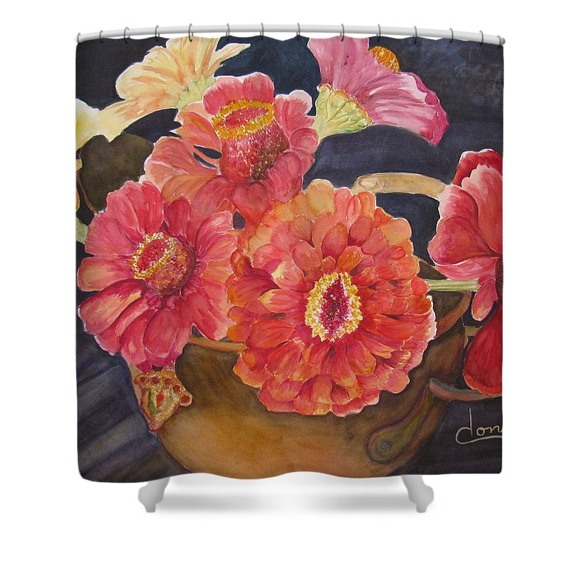 Flowers Shower Curtain featuring the painting Red Zinnias by Donna Steward