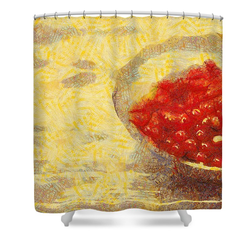 Still Life Shower Curtain featuring the digital art Redkurrants by Scott Smith