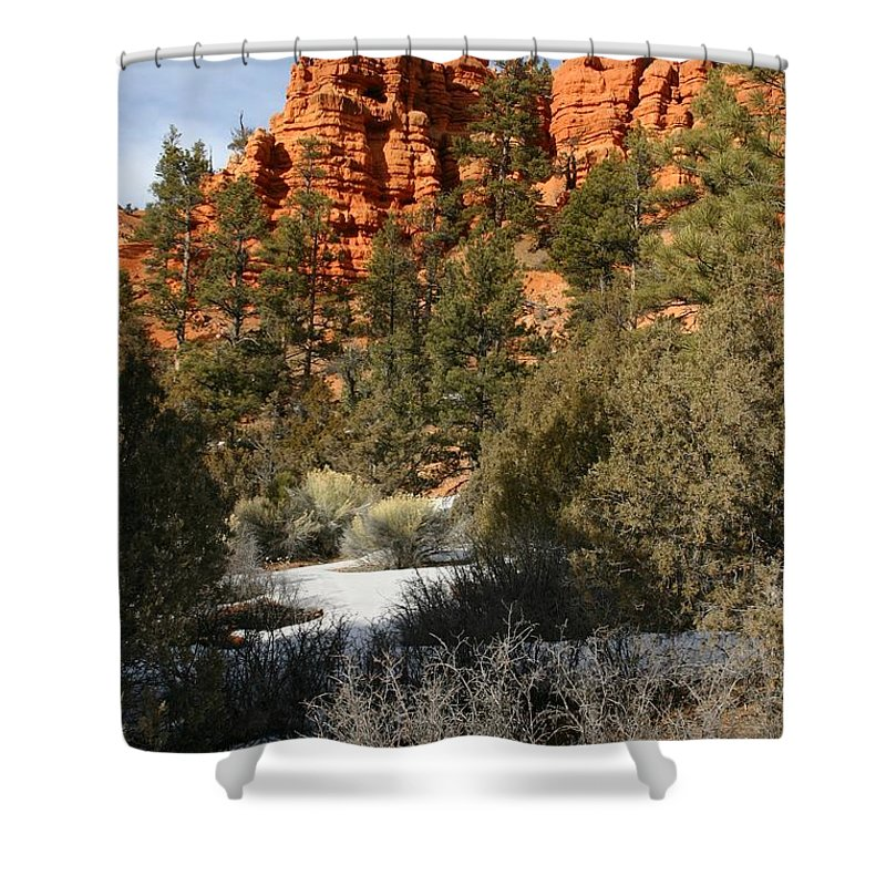 Red Rocks Shower Curtain featuring the photograph Redrock Winter by Nelson Strong