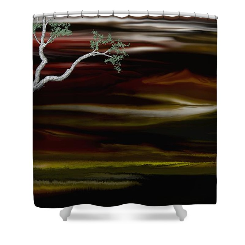 Digital Landscape Shower Curtain featuring the digital art Redscape by David Lane
