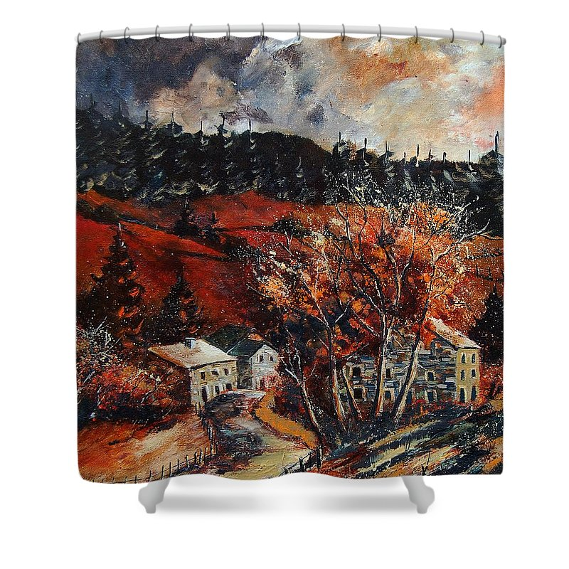 Tree Shower Curtain featuring the painting Redu Village Belgium by Pol Ledent
