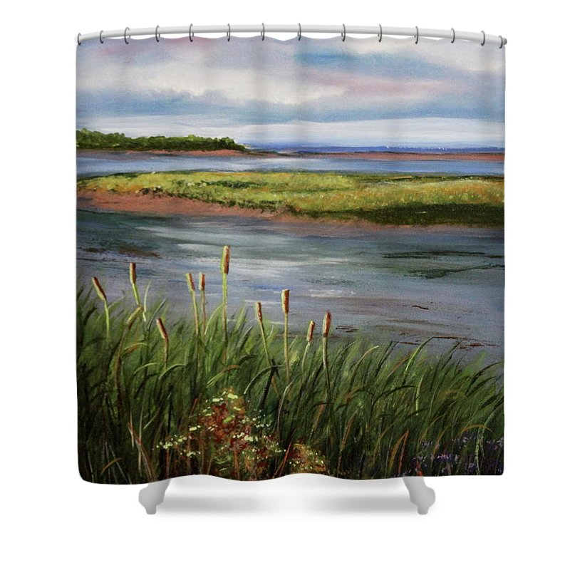 Reeds Shower Curtain featuring the painting Reeds By The Water by Lorraine Vatcher