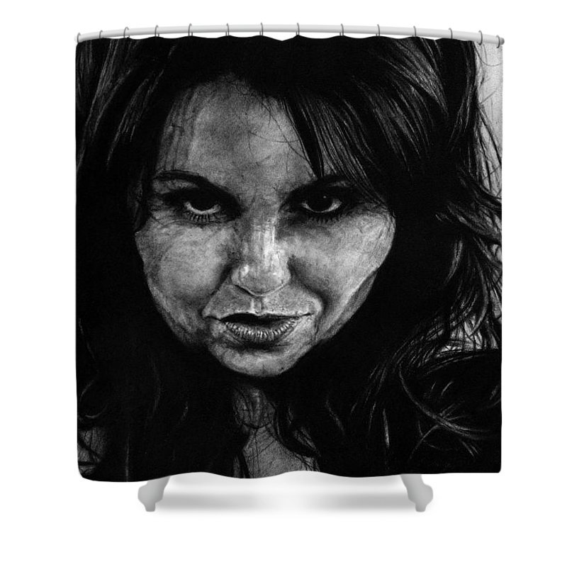 Portrait Girl Woman Sketch Drawing Charcoal Art Traditional Life Thought Smile Beautiful Expression Shower Curtain featuring the drawing Reel Romance by Priscilla Vogelbacher