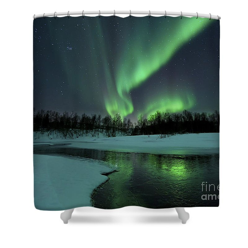 Green Shower Curtain featuring the photograph Reflected Aurora Over A Frozen Laksa by Arild Heitmann
