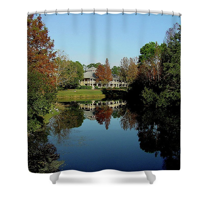 Mansion Shower Curtain featuring the photograph Reflected Elegance by Shirley Heyn