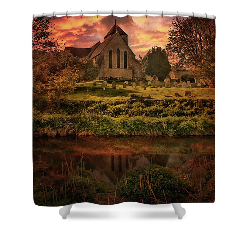 Godmersham Shower Curtain featuring the photograph Reflected In The Stour by Dave Godden