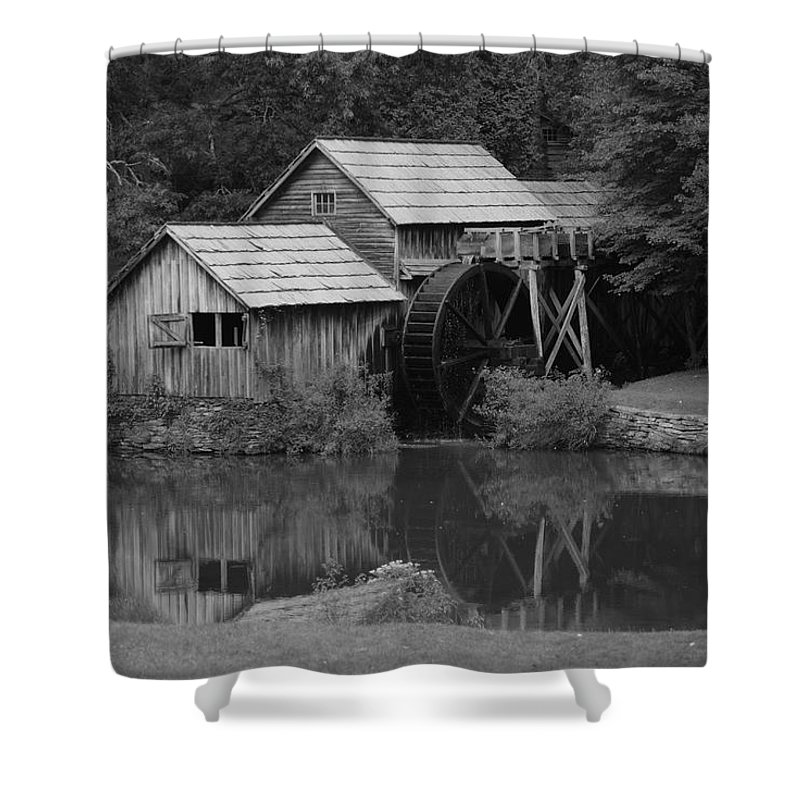 Mabry Mill Shower Curtain featuring the photograph Reflecting The Mill by Eric Liller