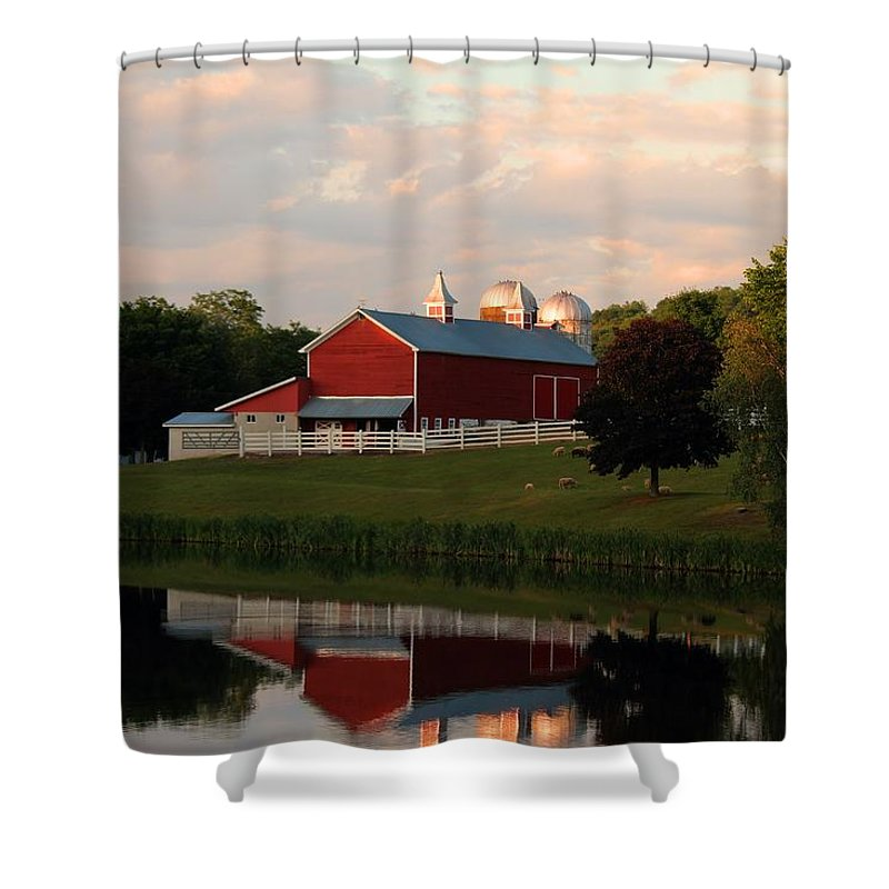 Barn Shower Curtain featuring the photograph Reflection At Sunset by Andrew Baker