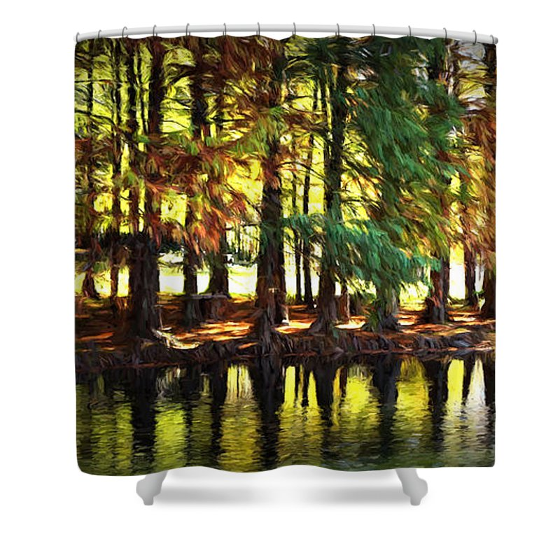 Ann Keisling Shower Curtain featuring the photograph Reflection In Paint by Ann Keisling