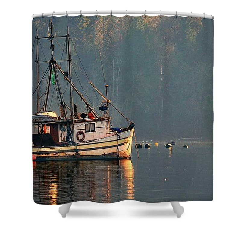 Trawler Shower Curtain featuring the photograph Reflections Of A Nautical Timepiece by Sher Falls