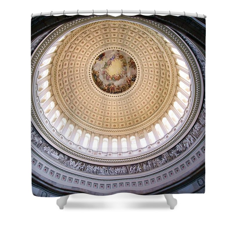 Dome Capitol Circles Washington Ceiling Dc Usa America Shower Curtain featuring the photograph Reflection Of Eternity by Mitch Cat