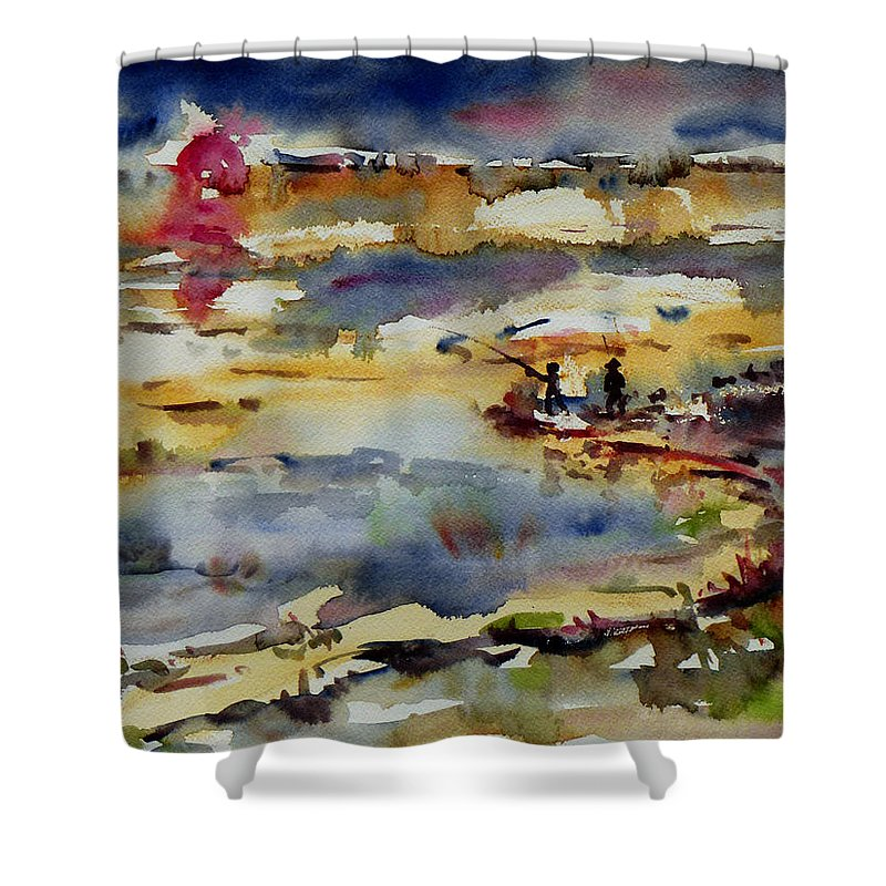 Sunset Shower Curtain featuring the painting Reflection Of Sunset Glow by Xueling Zou