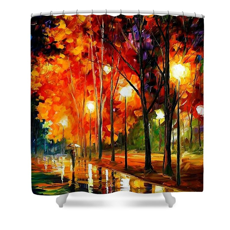 Landscape Shower Curtain featuring the painting Reflection Of The Night by Leonid Afremov