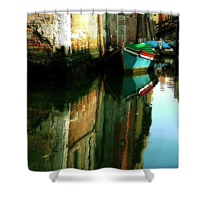 Venice Shower Curtain featuring the photograph Reflection Of The Wooden Boat by Donna Corless