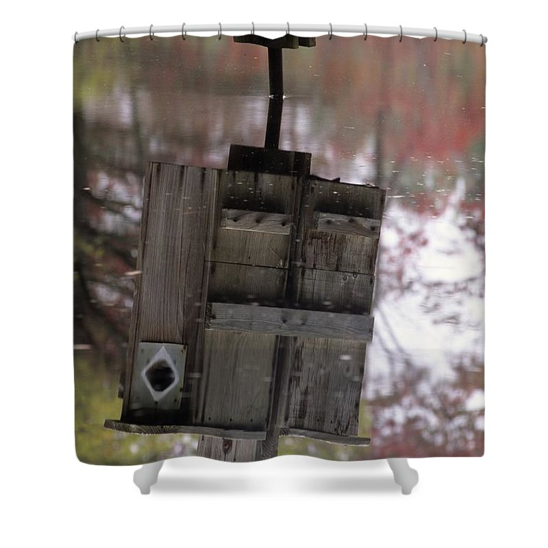 Wood Duck Shower Curtain featuring the photograph Reflection Of Wood Duck Box In Pond by Erin Paul Donovan