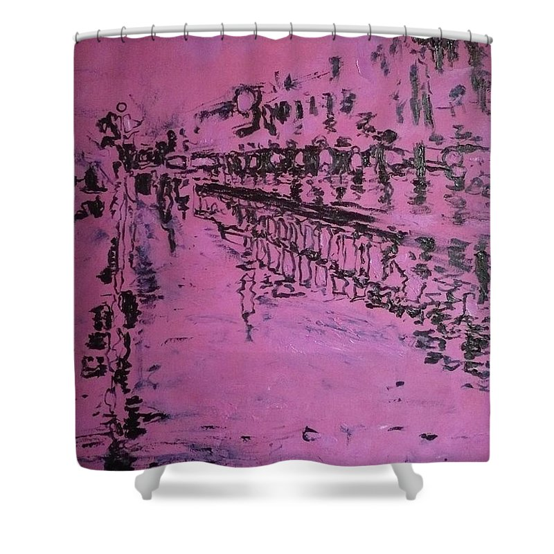 Reflection Shower Curtain featuring the painting Reflection On Rose by Ericka Herazo