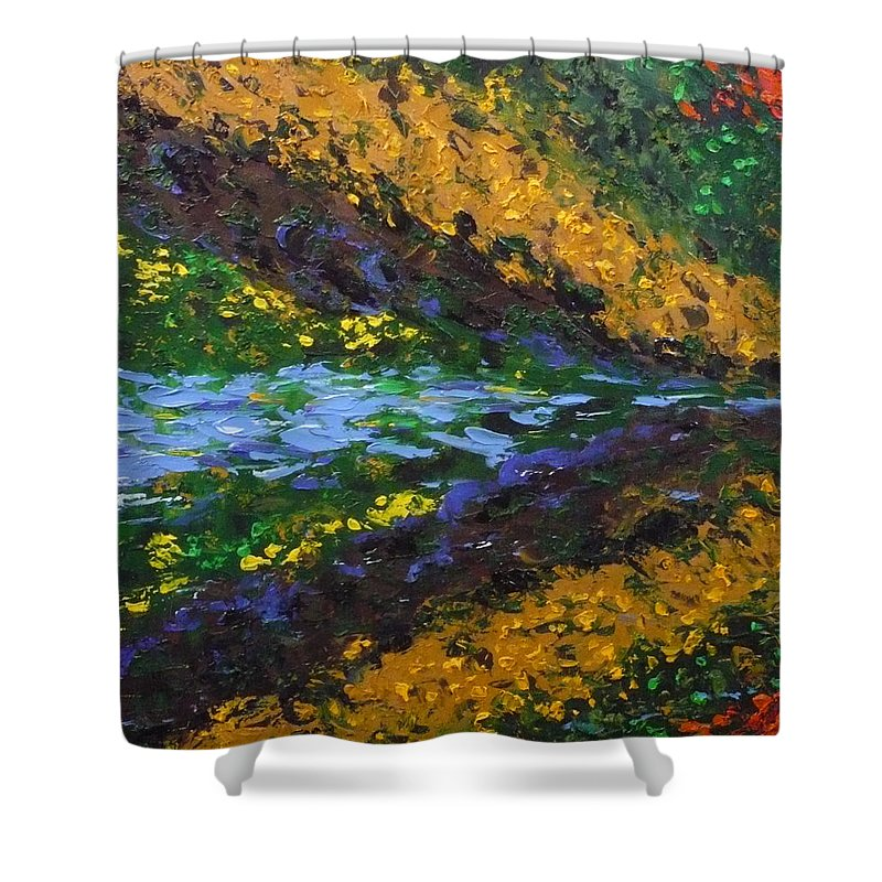 Landscape Shower Curtain featuring the painting Reflection One by Ericka Herazo
