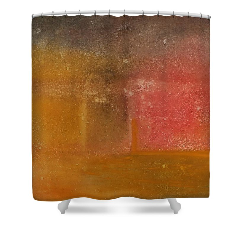 Storm Summer Red Yellow Gold Shower Curtain featuring the painting Reflection Summer Storm by Jack Diamond