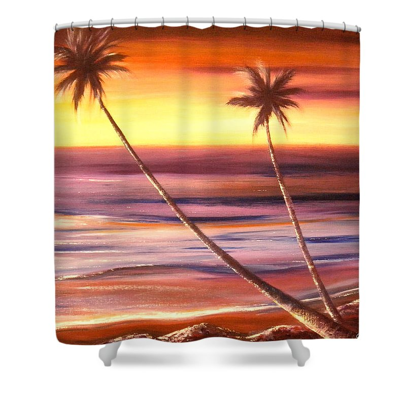 Tropical Shower Curtain featuring the painting Reflections 2 by Gina De Gorna