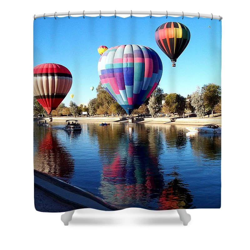Hot Air Balloon Festival Shower Curtain featuring the photograph Reflections Along The Channel by Adrienne Wilson