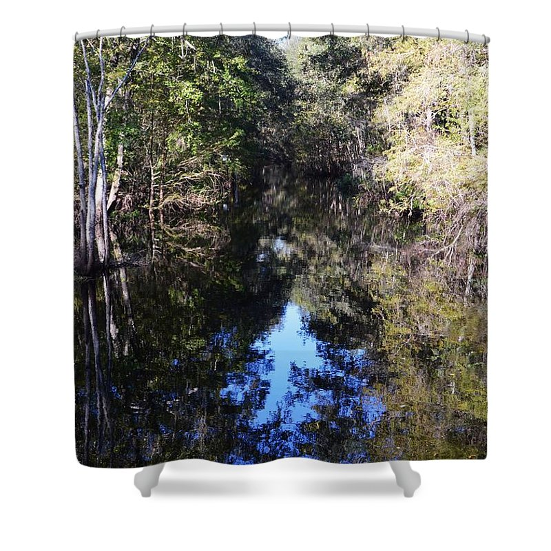 Reflections At Camps Creek - Camps Creek Shower Curtain featuring the photograph Reflections At Camps Creek by Warren Thompson
