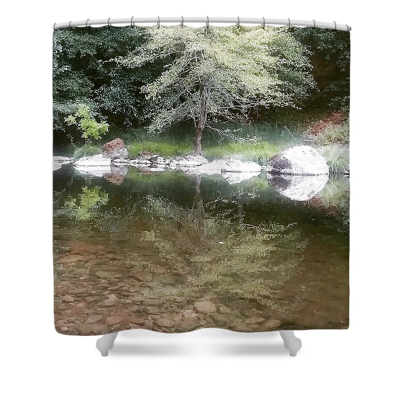 Trees Shower Curtain featuring the photograph Reflections by Emily King
