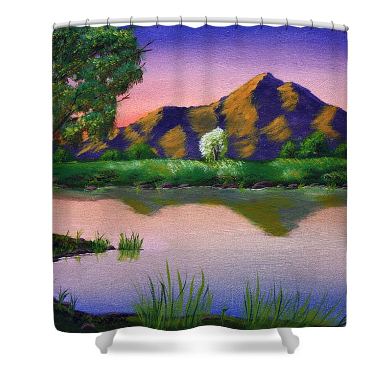 Landscape Shower Curtain featuring the painting Reflections In The Breeze by Dawn Blair