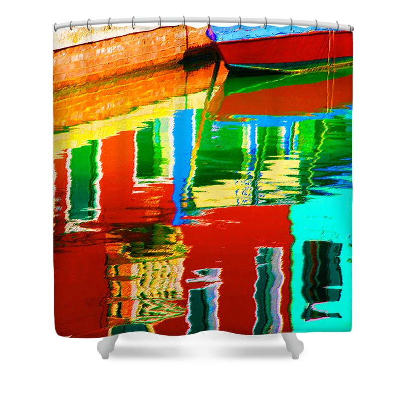 Abstract Shower Curtain featuring the pastel Reflections Near The Red Hull by Donna Corless