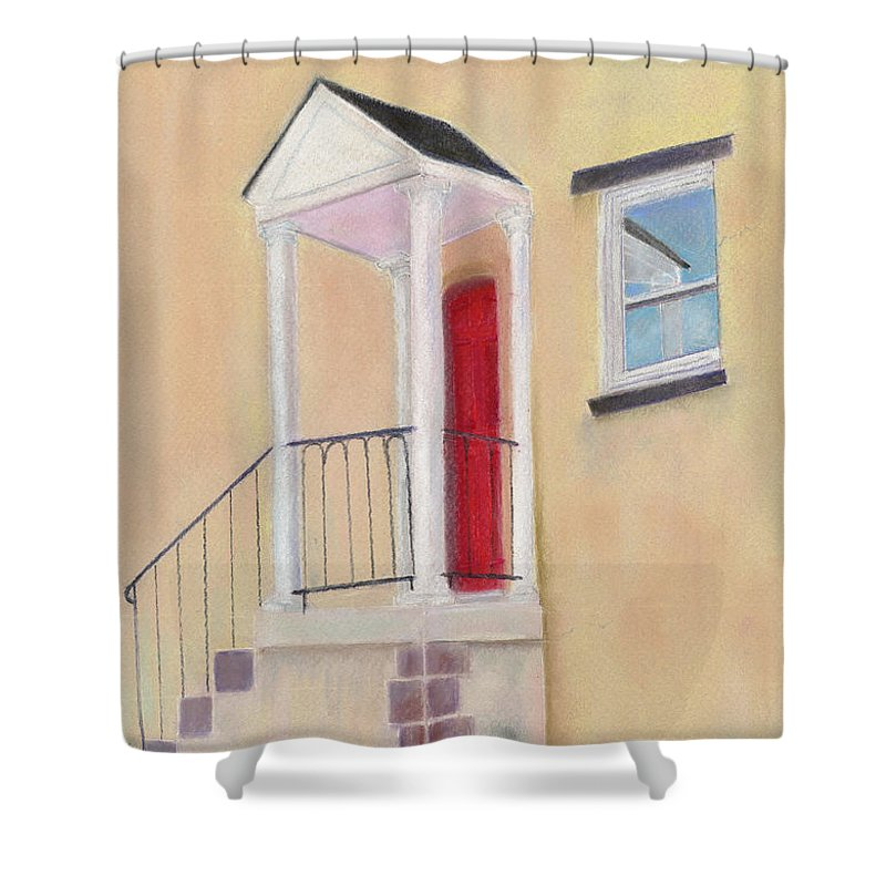 Red Door Shower Curtain featuring the painting Red Door - Baltimore by Arlene Crafton