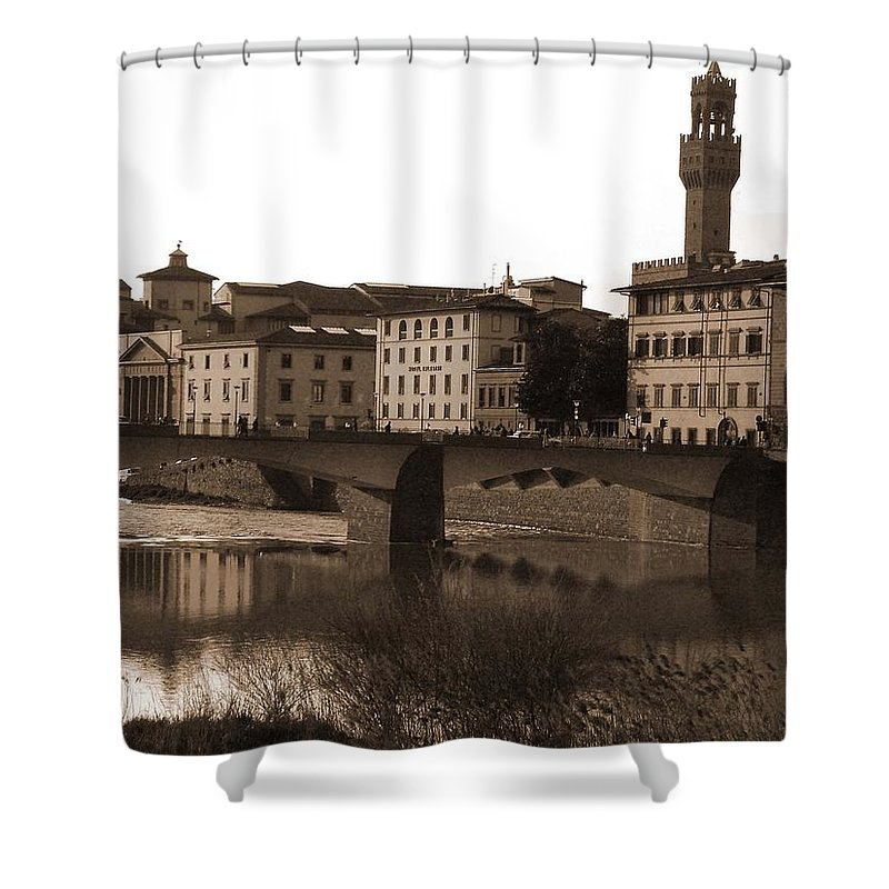 Sepia Shower Curtain featuring the photograph Reflections Of Florence by Donna Corless