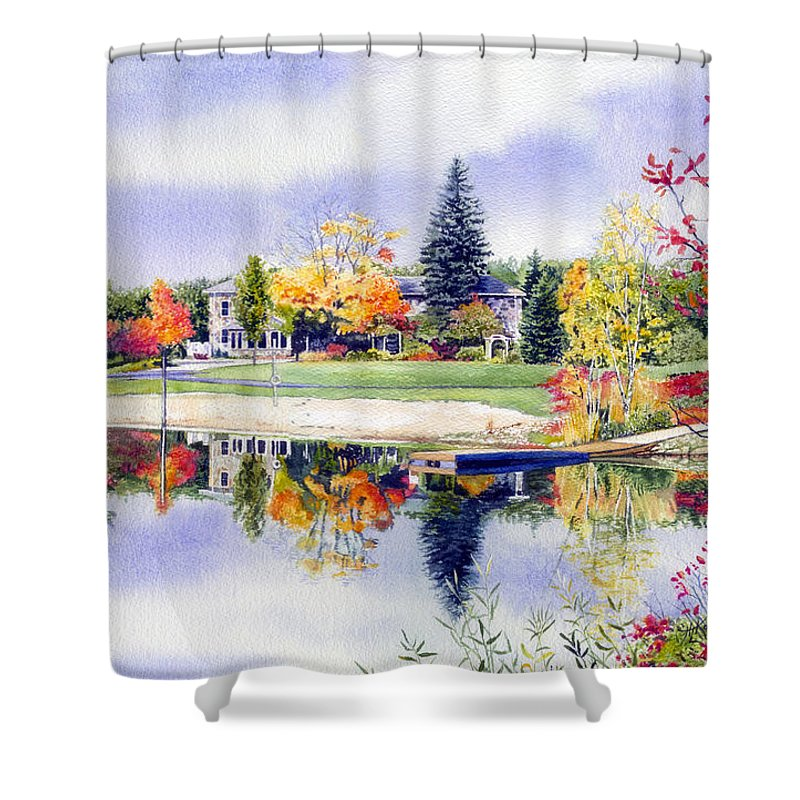 House Portrait Shower Curtain featuring the painting Reflections Of Home by Hanne Lore Koehler