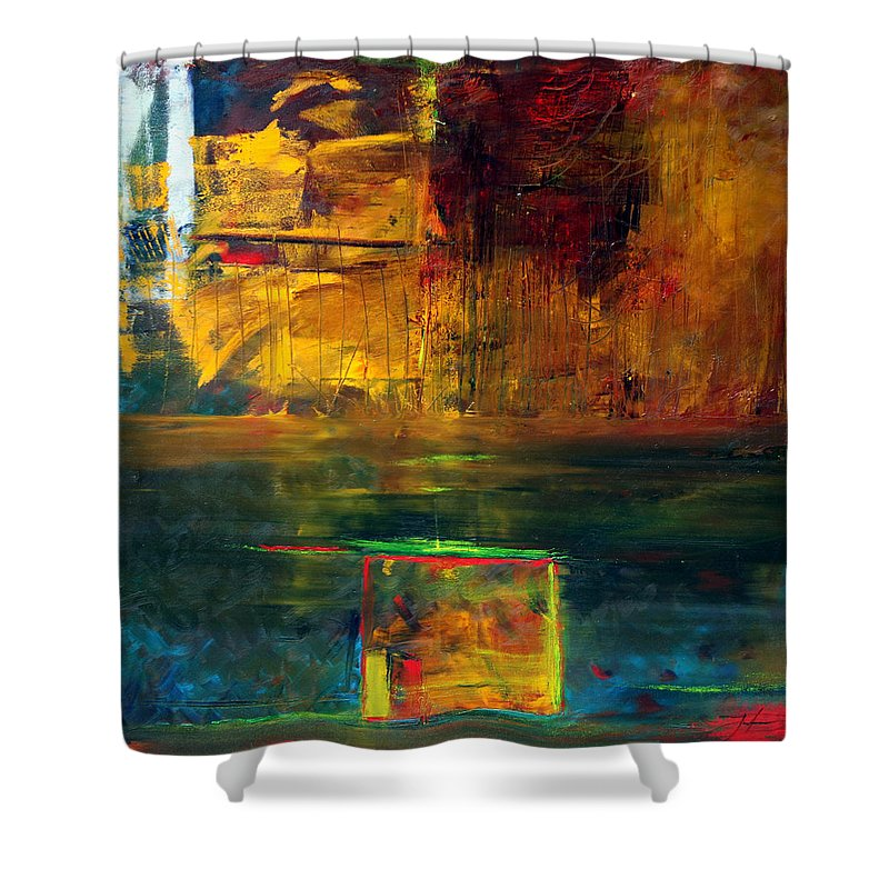 New York City Reflection Red Yellow Blue Green Shower Curtain featuring the painting Reflections Of New York by Jack Diamond