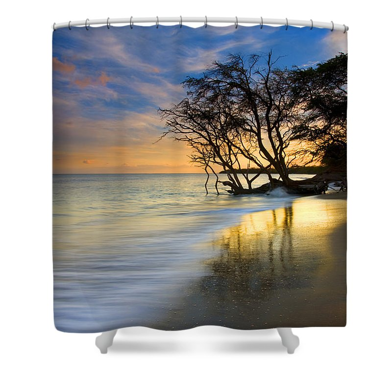 Waves Shower Curtain featuring the photograph Reflections Of Paradise by Mike Dawson
