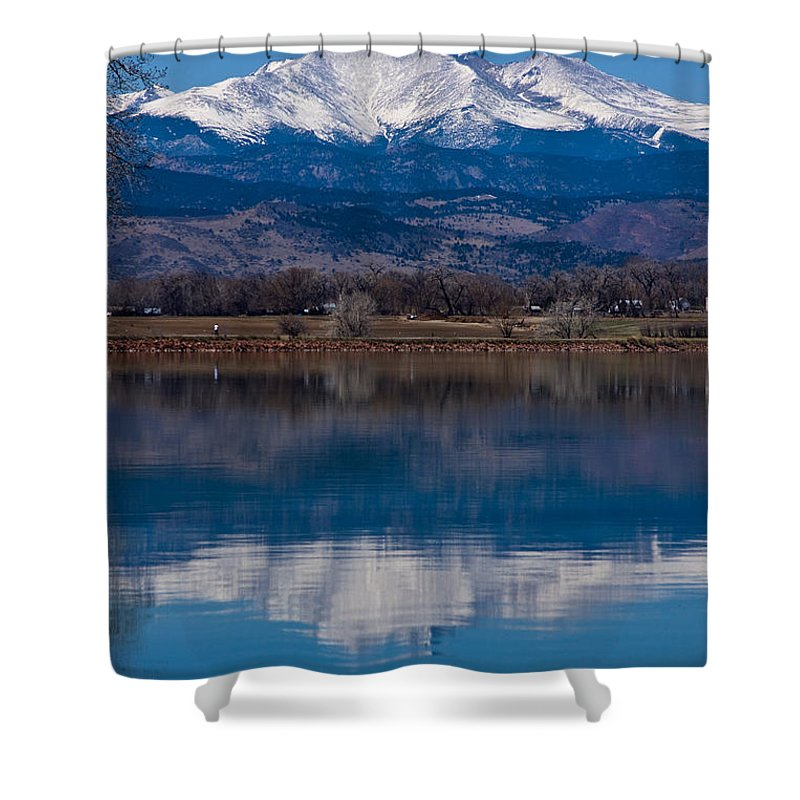 Twin Peaks Shower Curtain featuring the photograph Reflections Of The Twin Peaks by James BO Insogna