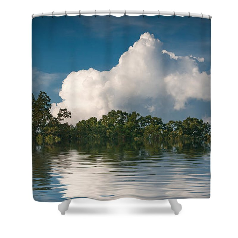 Horizontal Shower Curtain featuring the photograph Reflections Of Trees And Clouds by Robert Meyerson