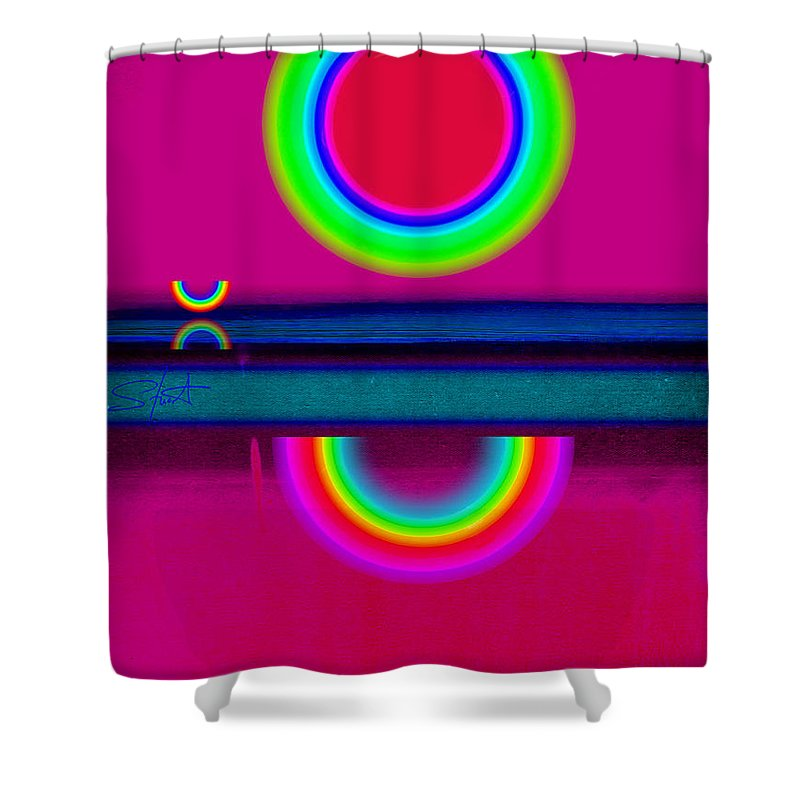 Reflections Shower Curtain featuring the painting Reflections On A Glass Lake by Charles Stuart