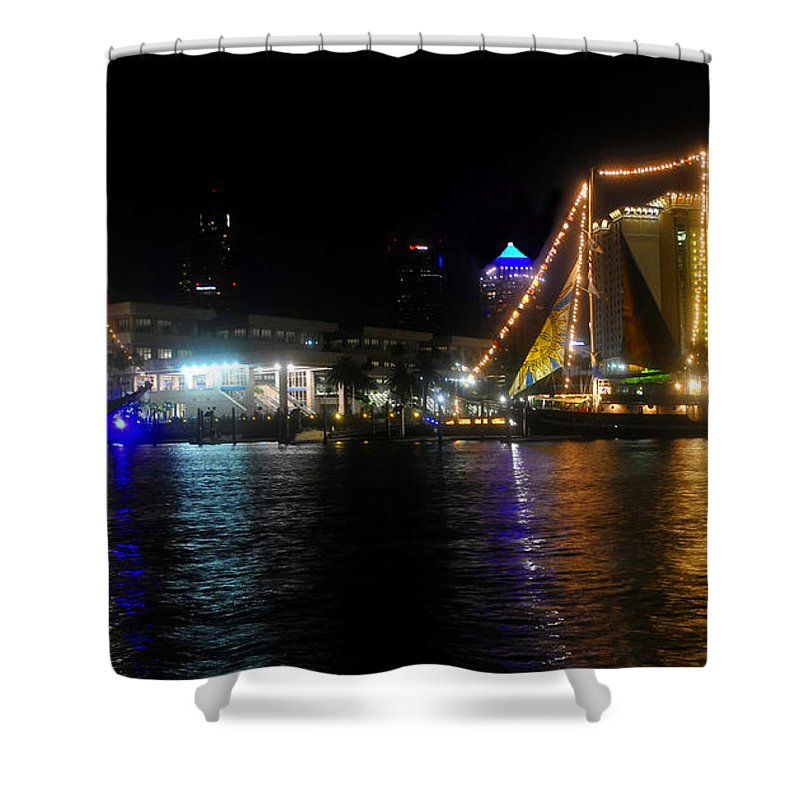 Tampa Bay Florida Shower Curtain featuring the photograph Reflections On Tampa Bay by David Lee Thompson