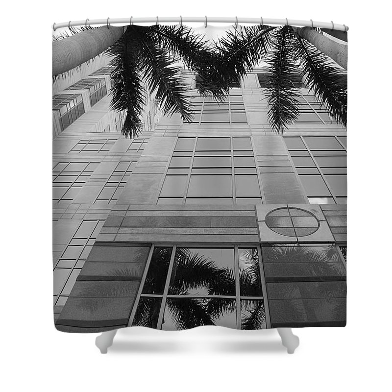 Architecture Shower Curtain featuring the photograph Reflections On The Building by Rob Hans
