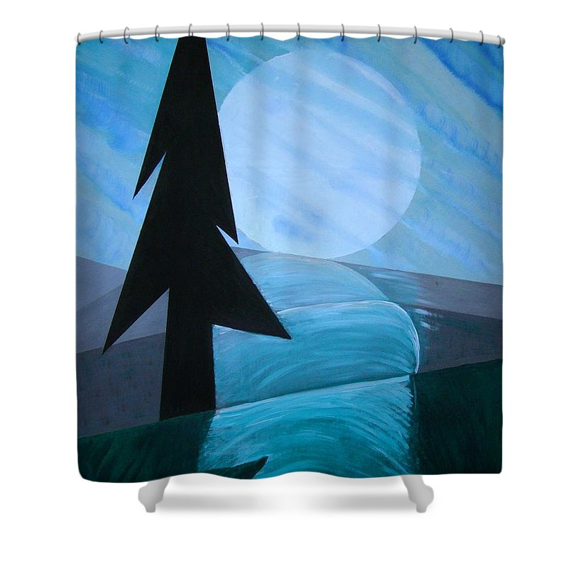Phases Of The Moon Shower Curtain featuring the painting Reflections On The Day by J R Seymour