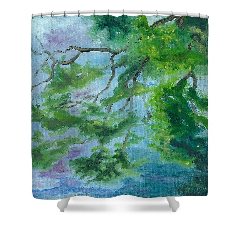 Reflections Shower Curtain featuring the painting Reflections On The Mill Pond by Paula Emery
